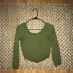 H&M Off the Shoulder Green Top